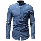UJUNAOR Herren Herbst Winter Vintage Distressed Solide Denim Langarm T-Shirt Top Bluse(3XL,Blau 1)