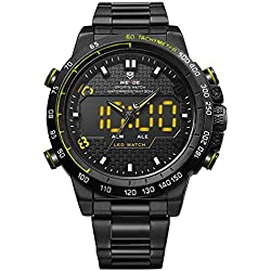 Alienwork LED Analogue-Digital Watch XXL Oversized Wristwatch Multi-function Metal yellow black WD.WH-6102-B-6