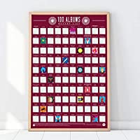 Gift Republic 100 Albums Scratch Off Bucket List Poster