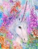 Lienzo decorativo con kit de pintura de cuentas en 5D, con diseño de unicornio blanco, con bordado de punto de cruz