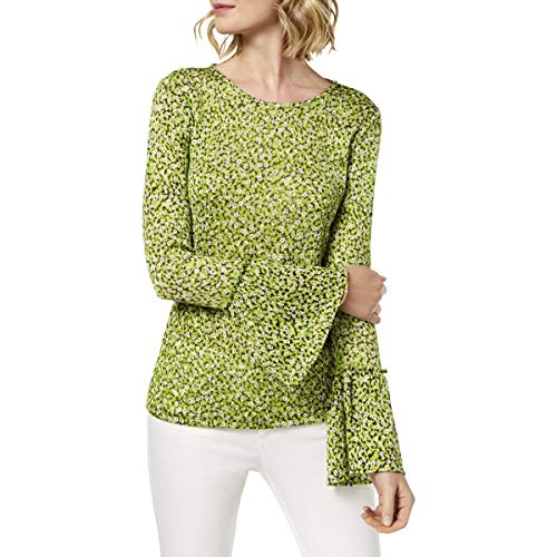 Michael Michael Kors Womens Petites Mesh Printed Pullover Top