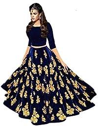D C creation Women's Velvet Lehenga Choli (Blue, Free Size)