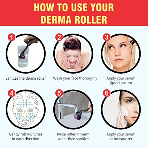 Gubb USA Derma Roller .5 mm 540 titanium micro needles roller for face and hair regrowth for all skin types and treatments of Skin Scars, Wrinkles, Anti Ageing
