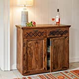 #3: DriftingWood Solid Sheesham Wood Side Board Cabinet With Drawers For Living Room | For Kitchen & Dining Room | Honey Finish