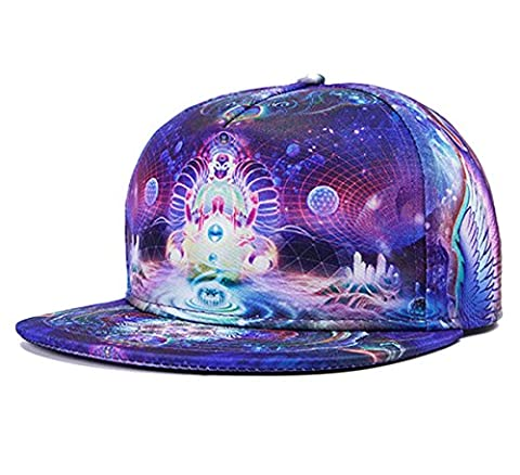 So'each 3d Galaxy Angel Wings Starry Print Flatbill Visor Snapback Baseball Hat Neon Sign