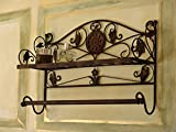 Regal Handtuchhalter Ablage Antik Wandregal Eisen Braun Nostalgie Vintage 43 x 66 x 20 cm