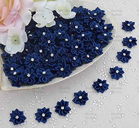 Navy Blue 25mm Satin Ribbon Flowers with Rhinestone Diamante Centre, Craft Flowers (25)