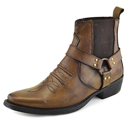 Herren Cowboy Leder Ankle Biker Western Stiefel Tan