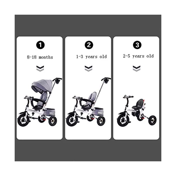 Folding Kids Ride-on Tricycle for Children with Sun Canopy, with 360° Rotating and Reclining Seat (Color : Gray) DUOER-Pushchairs Features assembled canopies without worrying about rain and sunshine,Safety features and safety belts are provided for safety. The pedal can be folded for more convenient use: the pedal can be folded to make travel more convenient. Upgrade the thickened sponge pillow to protect the baby's head and make the baby ride safer. 4