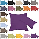 Qool24 Leinen-Optik Kissenbezug mit Reißverschluss Kissenhülle Kissenbezüge 23 Farben und 19 Größen Dunkellila 40x80 cm