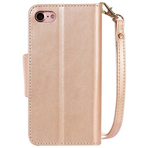 """iPhone 7 Coque Case Rabat Style, Double-Interlayer Portefeuille Désign Carte Titulaire, Souple PU Cuir Imprimé Joli Fille Motif Housse étui de Protection pour Apple iPhone 7 4.7"""" - Or Or"""