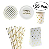 BESTONZON 55 stücke Papier Einweg Geschirr Weihnachten Geburtstag Party Pappteller Strohhalme Tissues Tassen für Party Supplies (Vergoldung)