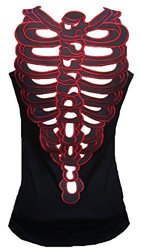 Rockabilly Punk Rock (Rockabilly Punk Rock Baby Damen Tank Top Shirt Schwarz Gothic Body Skelett Tattoo Design XL 42/44)