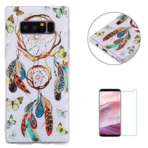 KaseHom Case for Samsung Galaxy Note 8 Mattierter TPU Fall (Mit Frei Displayschutzfolie) Bunter Cartoon (Campanula) Gedruckt Entwurf Ultra dünn Anti-Scratch Abdeckung Weich Gelee silikon Hülle