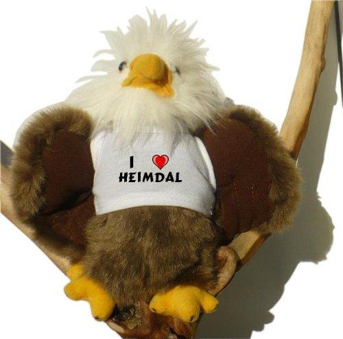 Preisvergleich Produktbild Weißkopfseeadler Plüsch Spielzeug mit T-shirt mit Aufschrift Ich liebe Heimdal (Vorname/Zuname/Spitzname)