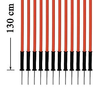 agility sport pour chiens - lot de 12 piquets de slalom, orange - 130 cm x Ø 25 mm avec des ressorts flexibles en métal - contient également un sac pratique