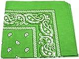 LIME GREEN bandana BLACK WHITE PAISLEY border