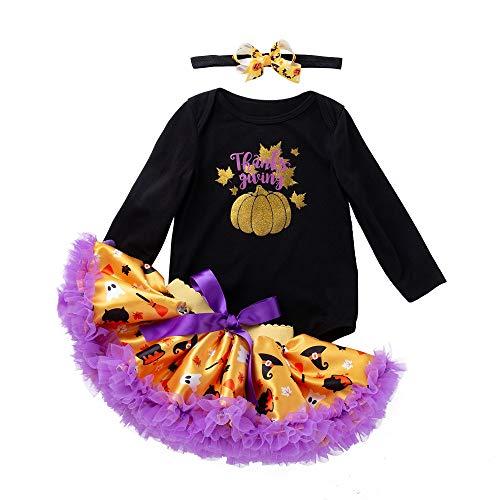 Kobay Neugeborenes Baby Mädchen Halloween Kürbis Strampler + Tutu Rock + Stirnbänder 3 stücke Overall Outfits Sets(0-3M,Schwarz)