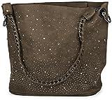 styleBREAKER Handtaschen Set mit Strass Applikation im Sternenhimmel Design, 2 Taschen 02012013, Farbe:Taupe