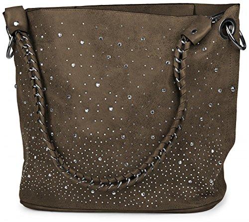 styleBREAKER Handtaschen Set mit Strass Applikation im Sternenhimmel Design, 2 Taschen 02012013, Farbe:Taupe -