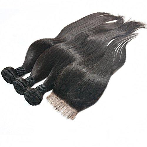 Moresoo 3 Bundles Lisse Tissage et 1 Free Part Lace Closure Meches Bresiliennes Lisse Cheveux Humains Weaving Extensions Cheveux 100% Humain Tissage(12\\