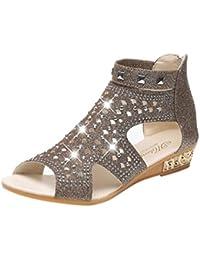 Elegant Sandalette Frauen Sommer Bohemia Sandalen Leder Flache Peep-Toe Schuhe Casual Ethnischen Sandalen Flip Flop Sandalen Fisch Mund Schuhe (40, Pink) Fuibo