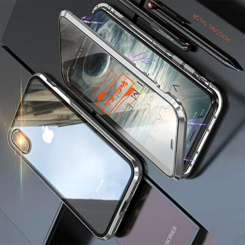 Yidai-Silu iPhone X/Xs Rundumschutz Case, 【Magnet König Ⅳ, Vorn + Hinten 9H Glas】 Stoßfest Alu Bumper Handy Hülle Stark Magnetisch Phone Cover für iPhone X/Xs 5,8 Zoll - Silber
