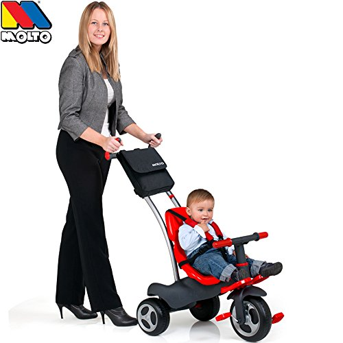 5 in 1 Dreirad, verstellbare Schiebestange, Radfreilauf, Gurt, Tasche: Kinder Trike Gurt Doppel Schubstange Kinderfahrzeug Mitwachsend Trike Schieben