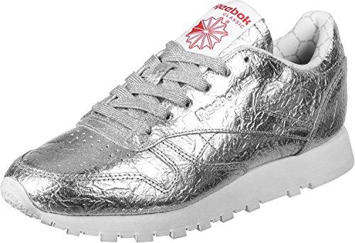 Reebok Cl Lthr Hd, Scarpe da Corsa Donna Multicolore (Silver Met/Snowy Grey/Primal Red/White)