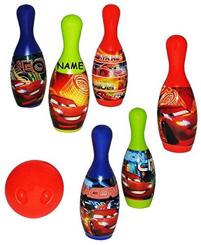 Unbekannt Set Bowling / Kegelspiel -  Disney Cars Lightning McQueen  - incl. Name - Bunte Farben Kegeln Kegel - für Kinder / Erwachsene groß - Kind Kinderbowling - Ga..