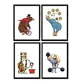 Nacnic Affiches de Cirque avec des Illustrations. Strongman Ours de acrobata de vélo et Leon Elephant. Les Enfants du Cirque. Assiettes décoratives. Format A4