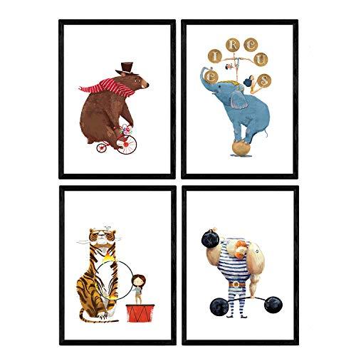 Nacnic Circus Poster mit Abbildungen. Strongman Bär Fahrrad acrobata und Leon Elefant. Kinder im Zirkus. Dekorplatten. A4-Format
