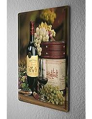 Cartel de chapa Placa metal tin sign 20X30 cm Las uvas de vino de botella de vidrio de vino Bar Publicación Restaurante Decoración Placas Poster De Metal