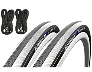 Schwalbe Lugano 700c x 23 Road Racing Bike Tyres (Pair) & Presta Inner Tubes - White by Schwalbe