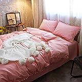 Kexinfan Bettbezug Pear Ball Baumwolle Vierteilige Anzug Frühjahr und Sommer Baumwolle Bettwäsche Bett Bettwäsche Bett, Rosa, 1,8 M (6 Fuß) Bett