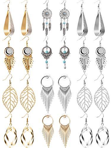 12 Paar Tropfen Baumeln Ohrringe Goldene Silberne Modeschmuck Fransen Quaste Charakter Übertrieben Ohrringe Set für Damen Mädchen (Stil A)