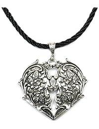 Lufetti Halskette Damen Trachtenkette Edelweiss Herz Kordel schwarz