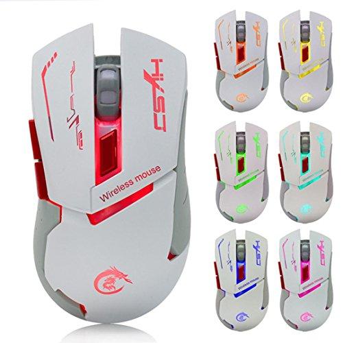 Mäuse, ourmall 2.4G 2400verstellbar USB Wireless Optische Maus Mäuse mit 6Tasten und Lichter von 7Farben, Gaming für Computer PC Laptop (weiß) (Schlüssel-tastatur Staubschutz 88)