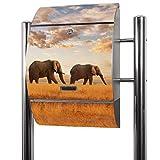 BANJADO Edelstahl Briefkasten groß, Standbriefkasten freistehend 126x53x17cm, Design Briefkasten mit Zeitungsfach Motiv Elefanten