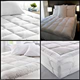 Textile online Mattress Topper Duck Feather & Down Luxury Extra Thick Box Constructed Stitched (Single)