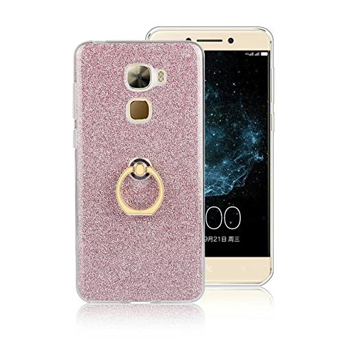 Luxus Bling Sparkle Style Case, Soft TPU [Silikon] Flexible Glitter Rückentasche [Anti Scratch] mit Fingerring Stand für LeTV LE PRO 3 ( Color : Black ) Pink