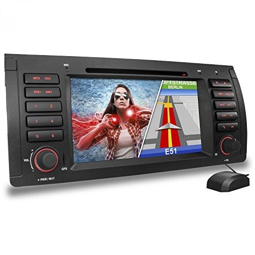 XOMAX XM-39B Autoradio passend für BMW E39 (5er, M5) E53 (X5) I mit GPS Navigations Software I Bluetooth Freisprecheinrichtung I 18 cm / 7
