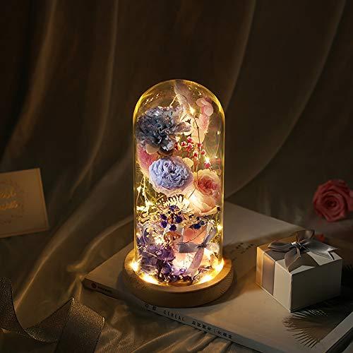 Qyoung Forever Nature LED-Flasche mit frischer Blume, Nachttischlampe, Ewige Blumen in Einer Glaskuppel auf Holzsockel, Nachtlicht für Zuhause, Geschenk für Jahrestag, Geburtstag, Muttertag blau