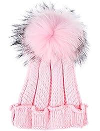TININNA Inverno Caldo Lavorato a Maglia Pom Pom Cappello Berretto di Lana  Berretto da Sci Beanie Hat per Bambini Ragazza Ragazzi… 0f37194be63e