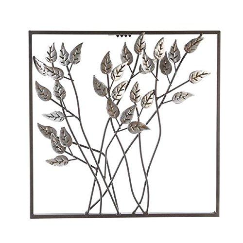Wandrelief Wandbild Design wählbar Wanddeko Metall braun silber 30cm Metalldeko, Design:Blätter