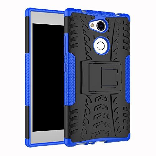 TenYll Sony Xperia L2 Hülle, 2in1 Silikon Rückseite Schutzhülle,Heavy Duty Tough Rugged Shock Proof Case,Mit Halterung Doppeltem Schutz Cover für Sony Xperia L2 -Blau