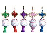Goodwei Maneki-Neko Pendant-Set - 5 Elegante Anhänger mit Süsser Glückskatze aus Porzellan