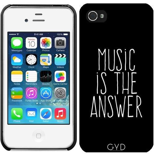 Leder Flip Case Tasche Hülle für Apple iPhone 5C - Musik Ist Die Antwort by wamdesign Starre Kunststoff
