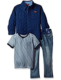 7 For All Mankind Toddler Boys' 3 Piece Trucker Jacket, T-Shirt and Jean Set