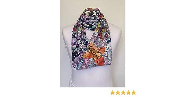 Infinity Scarf Jersey Or Chiffon tattoo 1 Design Unisex Fashion Loop Scarves